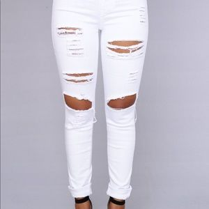Fashion Nova white high wasted pants